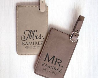 Personalized Mr. & Mrs. Luggage Tags: Wedding Luggage Tags, Bride Groom Luggage Tags, Personalized Mr. and Mrs. Gift, SHIPS FAST