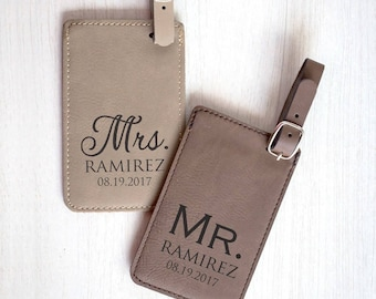 Pair of Personalized Mr. & Mrs. Luggage Tags: Custom Wedding Luggage Tags, Bride Groom Luggage Tags, Personalized Mr. Mrs. Gift, SHIPS FAST