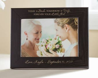 Personalized Mother of the Bride Picture Frame (Black): Custom Engraved Mother of the Bride Frame, Mother of the Bride Gift Idea, SHIPS FAST