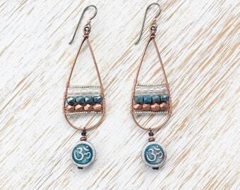Om Earrings, Long Earrings, Yoga Earrings, Yoga Charms, Boho Earrings, Hypoallergenic Earrings, Niobium Earrings, Copper Earrings, Boho Chic