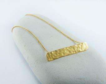 Gold dainty bar necklace Hammered bar necklace Gold Rectangle pendant Gold bar necklace