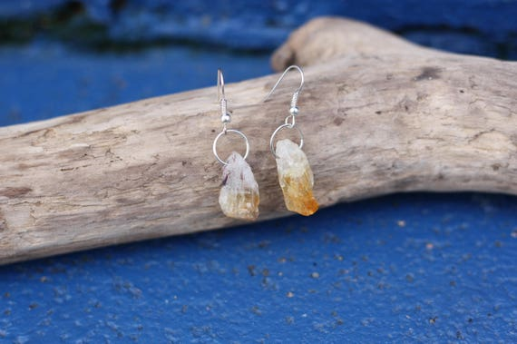 RAW CITRINE EARRINGS - Small Earrings - Raw Crystal - Silver Earrings - Stocking Filler - Gift - Sale - Spiritual Jewellery - Birthstone