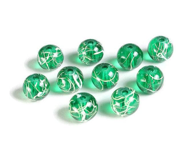 10mm Drawbench green silver beads - 10mm round glass beads - 10mm Drawbench glass beads (1885) - Flat rate shipping