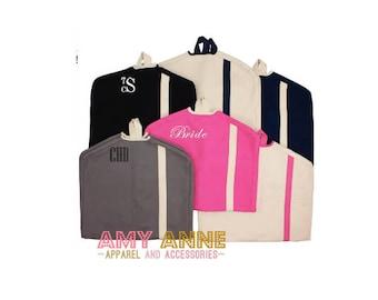 Monogrammed Canvas Garment Bag Hanging Satchel Solid Luggage Bride or Groom gift idea Overnight Travel Bag Bride Groom Groomsmen Bridesmaid