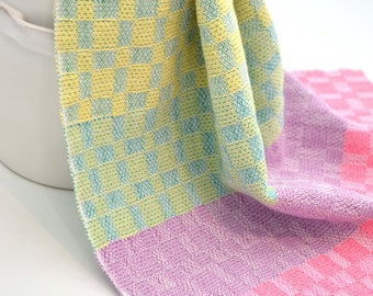handwoven tea towel - colourblocked brights