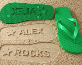 Custom Name Flip Flops - Personalized Sand Imprint Sandals *check size chart before ordering*