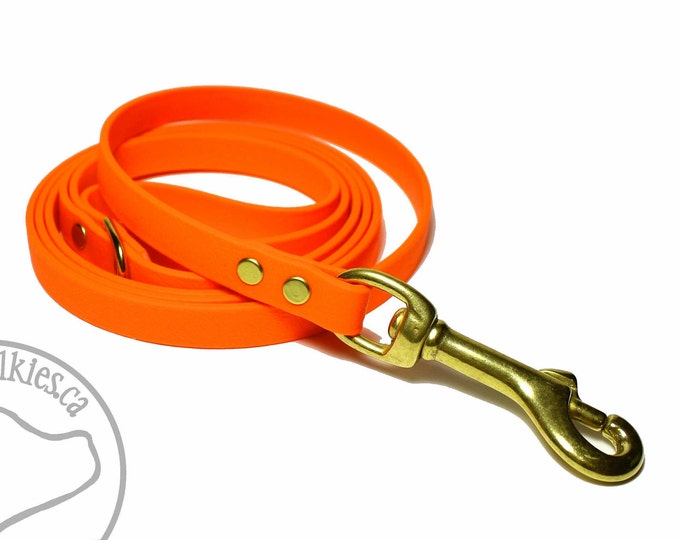 "Featured listing image: Blaze Neon Orange Small Dog Leash - 12mm (1/2"") Wide - Choice of: 4ft, 5ft, 6 ft (1.2m, 1.5m, 1.8 m) and Hardware Type - Small Dog Leash"