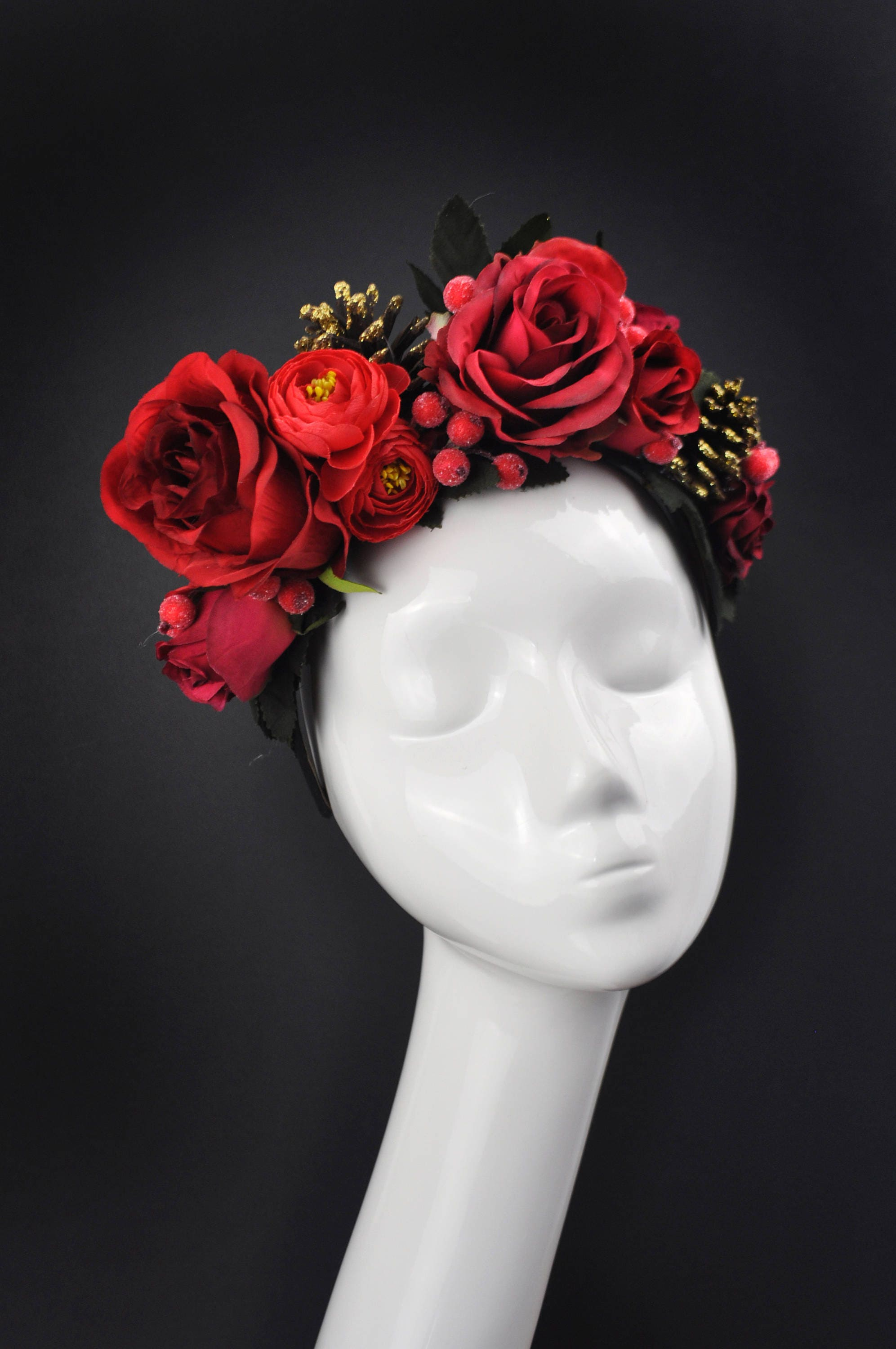 Red flower crown headpiece fall headpiece winter flower crown red flower crown headpiece fall headpiece winter flower crown christmas flower crown izmirmasajfo