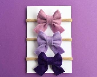 Sailor Bow Set, Baby Girl Bows, Baby Headbands, Purple Bows, Nylon Headbands, Felt Bows, Small Bows, Newborn Headband, Baby Girl Headbands