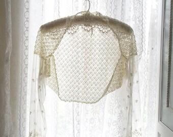 Ivory beige Lace Bolero long sleeves crop Top Blouse Beach Coverup , Kimono Jacket Cardigan, Kimono Robe Shrugs batwing , lace Wrap