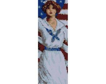 Vintage Lady 28 Peyote Bead Pattern, Bracelet Cuff Pattern, Bookmark, Seed Beading Pattern Miyuki Delica Size 11 Beads, PDF Instant Download