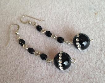 Onyx and Swarovski Crystal Bead Earrings