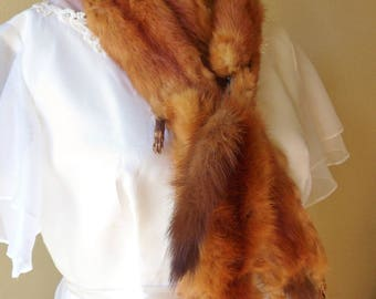 """Four Pelt Mink Stole with Intact Feet Tails Heads, 49"""" Fur Wrap, Full Body Mink Stole"""