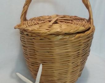 Large Jane Birken Lidded Wicker Basket Handbag or Tote