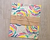 LARGE Zero Waste Beeswax Food Wrap with Rainbow Flowers / Bee Waxed Cloth cca 12 x 16 inch (30x40cm) / Food Wrap