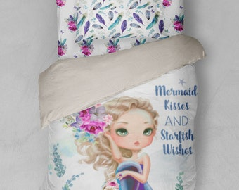 Boho Mermaid Twin Bedding Duvet Cover Sheets Sham Feathers Floral Little Girl Aztec Indian Boho Feathers Dream Catcher