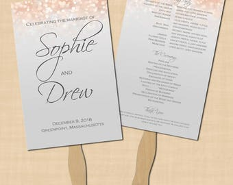 Gray and Blush Shimmer Program Fan, Summer Wedding (5.5x8.5): Text-Editable in Microsoft® Word, Printable Instant Download