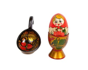 Vintage Russian Egg Cup Babushka Egg Wooden Spoon Ladle Russian Folk Art Hand Painted Lacquer