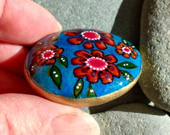 boho flowers blue / tiny painted stones/ painted rocks/ tiny art / tiny paintings / rock art / stone paintings/ boho art / hippie art /rocks