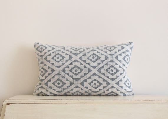 Diamond ikat pillow cushion cover in grey