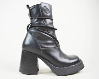 90s Grunge Minimal Black Leather Destroy Chunky Platform Ankle Boots UK 4 / US 6.5 / EU 37