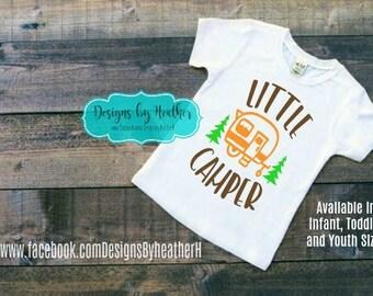 Boy's Tshirt - Camping Shirt - Little Camper Shirt - Outdoor T-shirt - Customized Boy Shirt - Camping Trip Shirt