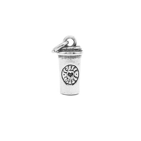 Mini Travel Mug Coffee Cup Charm - Add a Charm to a Custom Charm Bracelets, Necklaces or Key Chains - Nickel Free Charms