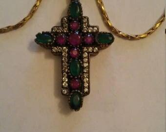 Beautiful Turkish Ruby Emerald White Topaz Cross Necklace