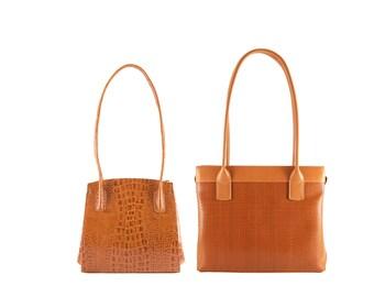 Leather top handle shoulder bag REGINA, NORA // cognac brown braided (Italian calf skin) - FREE shipping, unique bag