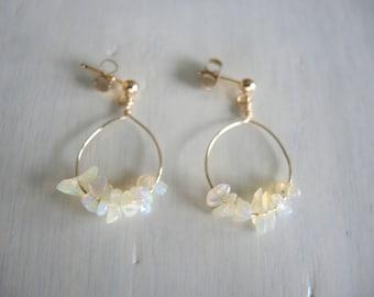 Opal Earrings, Opal Post Earrings, Opal Stud Earrings, Opal Jewelry, Tanzanian Opal Earrings, Gold Hoop Earrings, Opal Jewelry Gift For Her