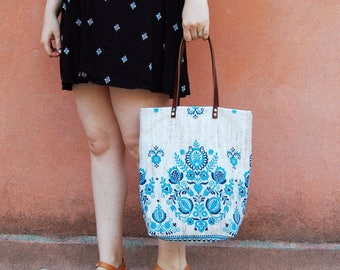 Bohemian Tote Bag, Bohemian Bag, Womens Bohemian Tote, Bohemian Shoulder Bag, Womens Everyday Bag, Womens Boho Bag, Scandinavian Fabric Bag