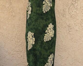 Pineapple Moon ~ Tropical Hawaiian Island maxi midi caftan dress green ivory L