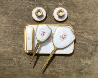 1970s Gold Mirror Hair Brush Set with Tray and Candlesticks White Lace Floral Design Vanity Grooming