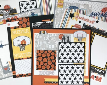 12x12 Basketball Scrapbook Page Kit or Premade Pre-Cut with Instructions 6 pages Team Coach Basketball Sports