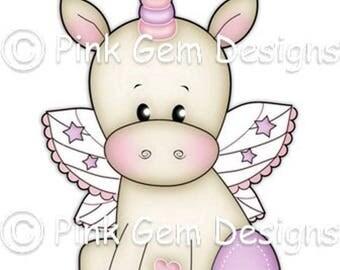 Digi Stamp  'Baby Unicorn' - Birthday, Party Invitations, Baby Shower, New Baby