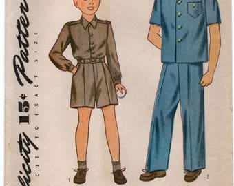 "1940's Simplicity Boy's Shirt and Pants Pattern - Chest 30"" - No. 4600"