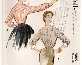 "1950's McCall's Blouse Pattern with Long Sleeves and High Collar Pattern - Bust 30"" - No. 9809"