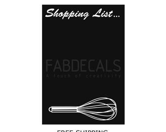 Kitchen Wall Decals, Shopping List Blackboard, Recipe Chalkboard, Wall Decal, Chalkboard Sign, Blackboard Sticker, Free Shipping, 402P