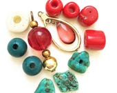 destash of salvaged recycled teal turquoise and red beads pendant dangle--mixed lot of 12 items