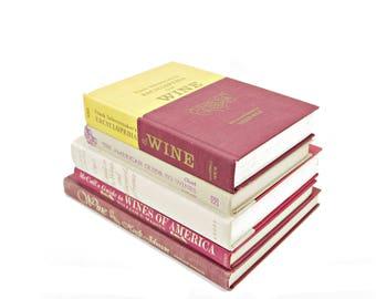 Wine Book Collection, GUide to Wines Antique Books, Decorative Books, Home Kitchen Decor, Interior Design, Old Book Set, Red BEige Books,