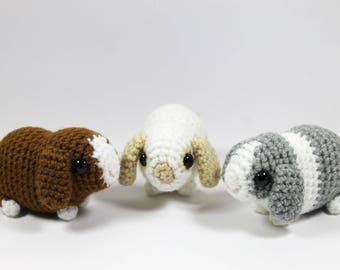 Baby lop bunnies: realistic crocheted toys