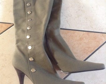 NEW Gorgeous Nine West Boots, fabric, pointed toe, olive green, original, U.S. 9, Greece