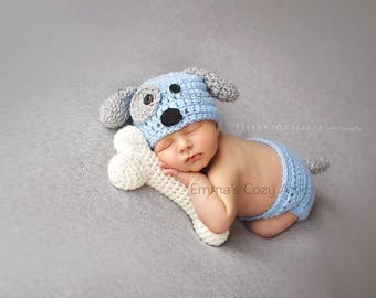 Newborn puppy hat, baby boy puppy hat, crochet puppy hat, newborn photo prop, baby boy clothes, coming home outfit, newborn boy hat, blue