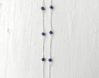 Lapis Goldfilled Sterling Silver Necklace/Gemstone Birthstone Necklace/Bridesmaid Necklace/Crystal Necklace/Delicate Gold Layer Necklace