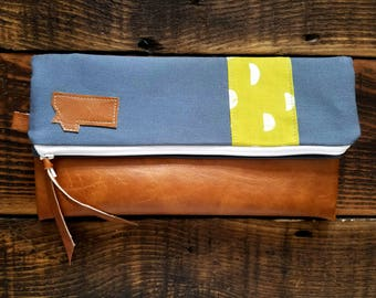 Foldover Montana Clutch/Yellowy green moon print/Gray canvas/Caramel vegan leather details/White zipper