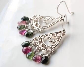 Watermelon Tourmaline Chandelier Earrings, Sterling Silver dangle earring, pink green gemstone earrings, boho, holiday gift for her, 4437