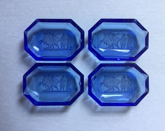 Set of 4 Antique Blue Glass Intaglio Neo classical Cameo Salt Cellar Dishes