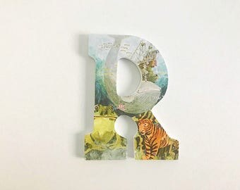 """Wooden letter R -""""My Home"""" Little Golden Books. Frog. Tiger. Whale. Pirate Ship."""