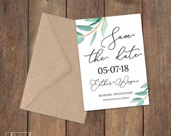 Save the Date, Save Our Date, Wedding Announcement - PRINTABLE file - garden wedding, rustic wedding, watercolor sprig, leaves - Esther
