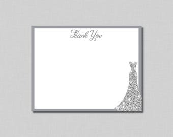 Silver Bridal Shower Thank You Cards diamonds thank you Avery BR16 Digital or Printed